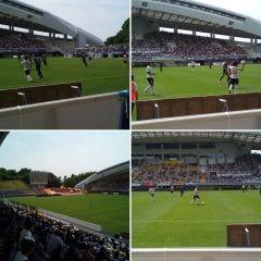 レベルファイブスタジアムでサッカーJ2 アビスパ福岡VS名古屋グランパス戦を観戦中 0対1で負けてますがんばれアビスパ福岡 tags[福岡県]