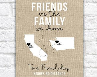 Friends of the Family, Close Friends Gifts, Christmas Gift for Friends, Living Far Away, Moving, Long Distance Friendship, Burlap | WF44