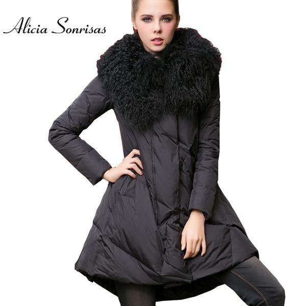 5bae607f1 Women's Coat Long Winter Down Jacket 100% Real Big Lapel Lamb Fur ...