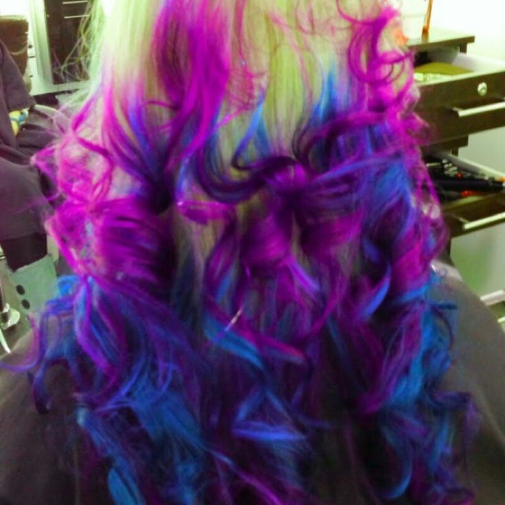 blonde with purple blue tips hair hair ideas pinterest