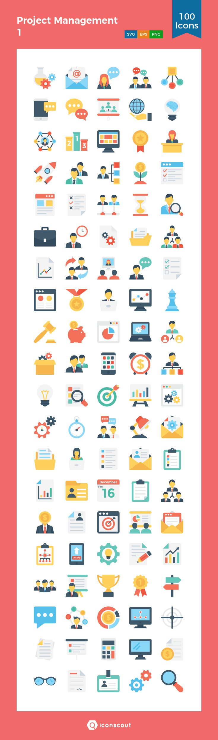 Project Management 1  Icon Pack - 100 Flat Icons
