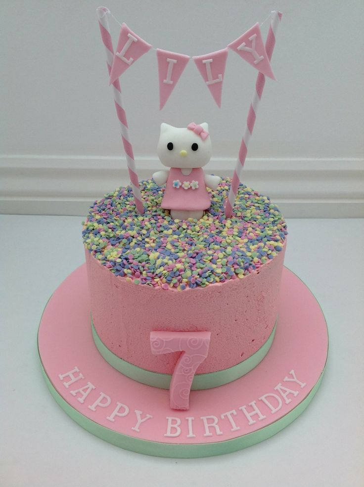 A Hello Kitty Buttercream Cake With Bunting By Fancy