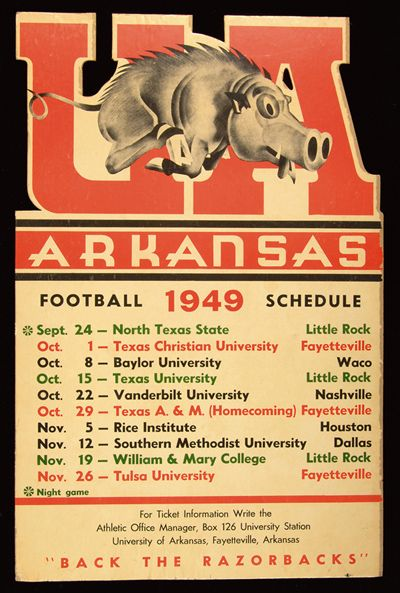 """""""I reallyreallyreally like this 1949 Arkansas Razorbacks schedule poster, especially the typography they used for 'Arkansas.'"""" (h/t UniWatch)"""
