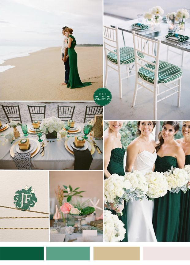 emerald dark green beach wedding ideas and bridesmaid dresses styles