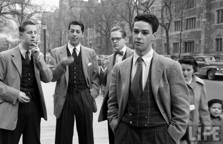 Young Oxford undergraduates wearing elements of the neo-Edwardian style in the early 1950's.