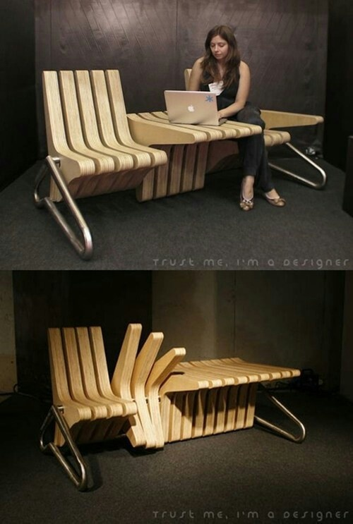 Multifunctional Furniture. Sofa Seating Converts To Chair(s) And Table(s)
