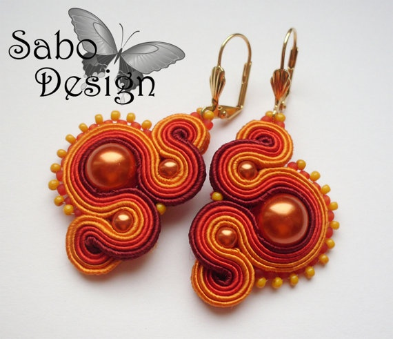 Orange soutache earrings  handmade embroidered in by SaboDesign