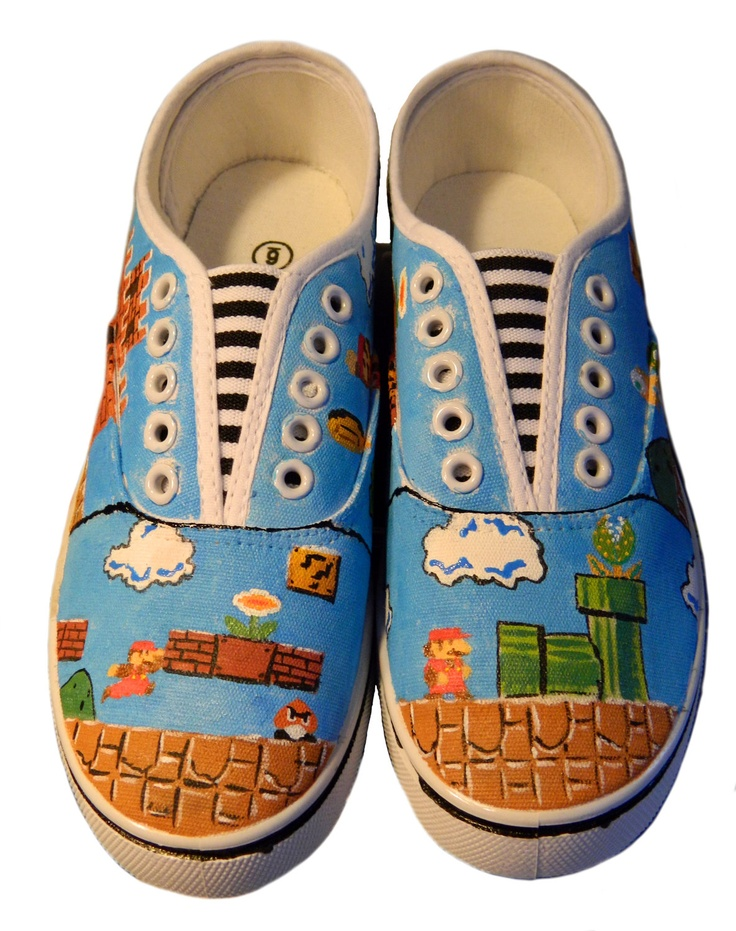 Super Mario Bros Hand Painted Sneakers