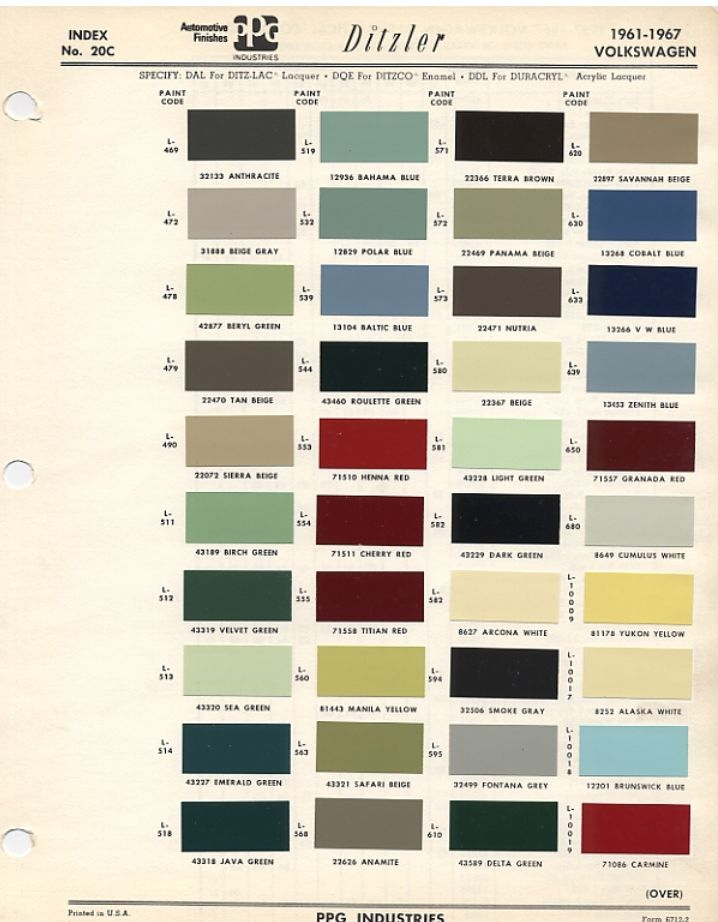 800ca3dbd3a6e5f0826fea2eacb3e55f vintage colors color codes original vw beetle paint schemes beetles, vw beetles and paint Java Green VW Bug at panicattacktreatment.co