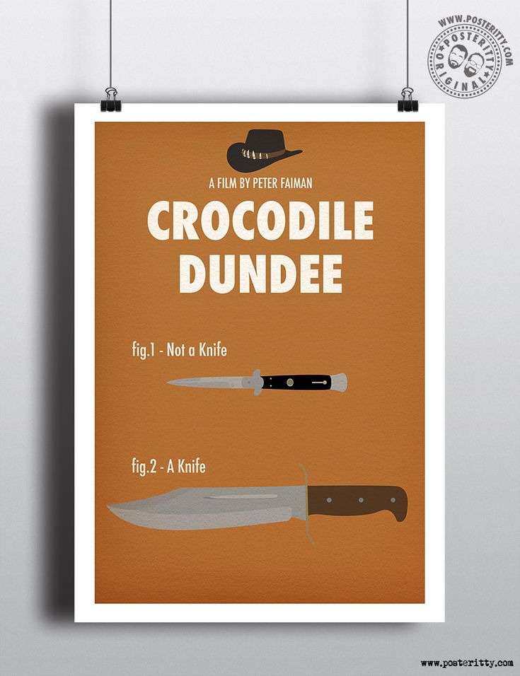 Crocodile Dundee Minimal Movie Poster by Posteritty #MinimalPosters #Minimalist #Posteritty #PosterittyStyle #MinimalMoviePoster #CrocodileDundee #80sMovies