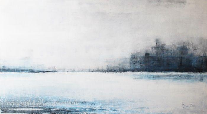 """Talventyyni"" Kristiina Mäkimattila, 2016. Akryyli kankaalle, tilaustyö 145cm x 80cm.  ""Winterstill"", Kristiina Mäkimattila, 2016. Acrylic on canvas. Customized painting, 145cm x 80cm."