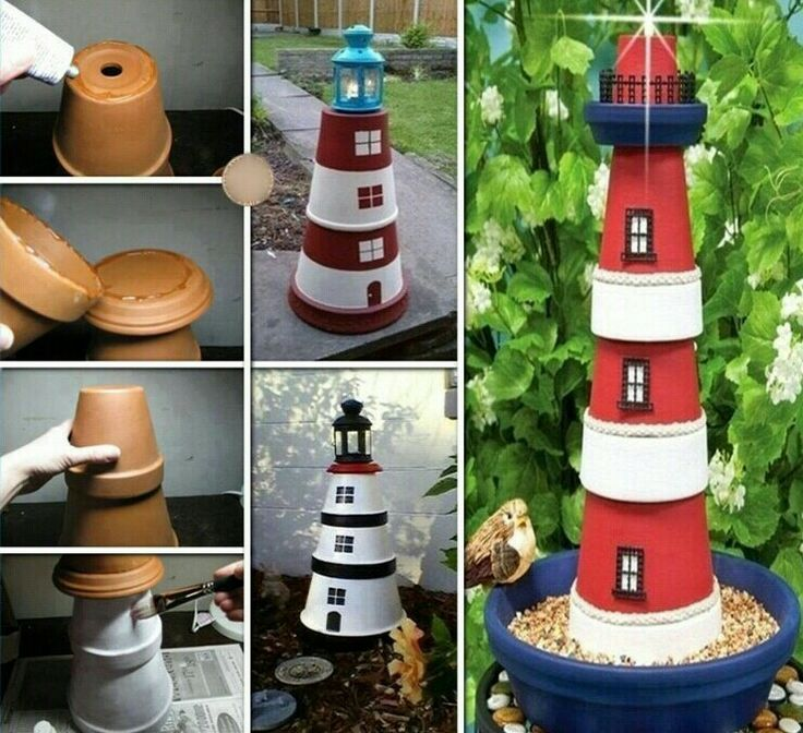 Diy garden decoration, lighthouse made out of pots. so cool!!