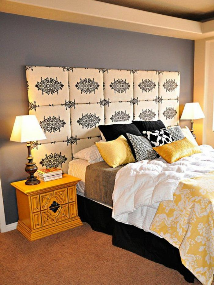 la t te de lit originale en 46 photos m me. Black Bedroom Furniture Sets. Home Design Ideas