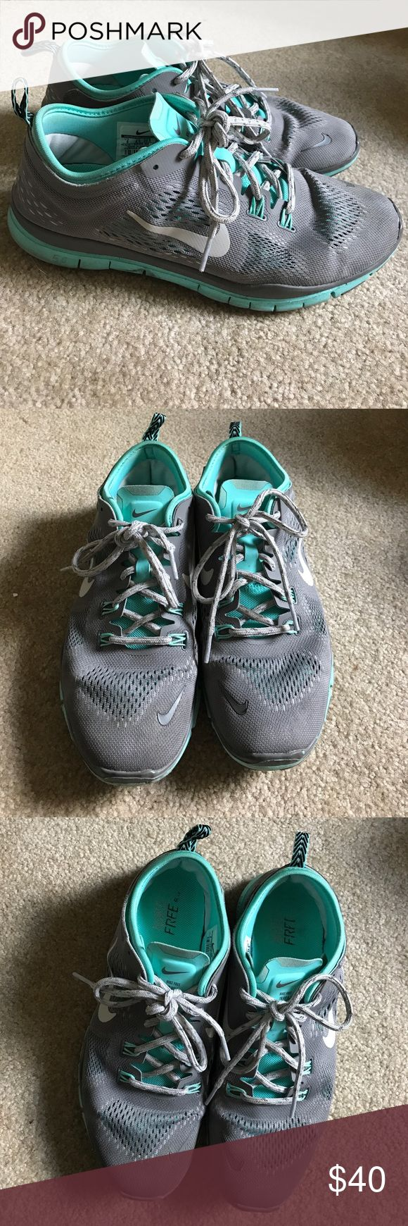 EUC Tiffany blue & gray Nike Free 5.0 These Tiffany blue and gray Nike free 5.0 shoes are still in excellent condition!! They came out in 2015, were hardly worn, and have been sitting in my closet, in a box, for over a year! Ready to give these to a new home! Nike Shoes Athletic Shoes