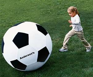 Score the most amazing goal of your life when playing a match with the giant soccer ball. Perfect for matching your larger than life game, this over-sized soccer ball will test your skills with every play in addition to providing humor and levity during competitive games. Buy It $54.27 via Amazon.com