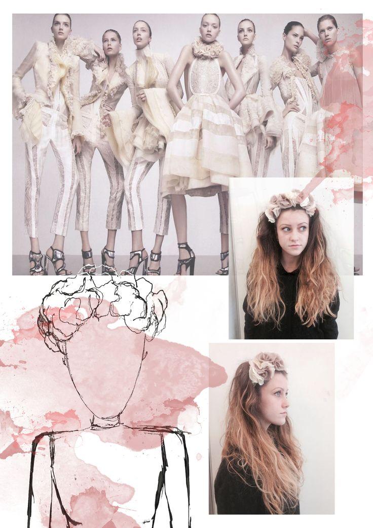 Fashion Portfolio - flower headpiece, fashion design development board - fashion illustration; layout; fashion sketchbook // Sarah Davies