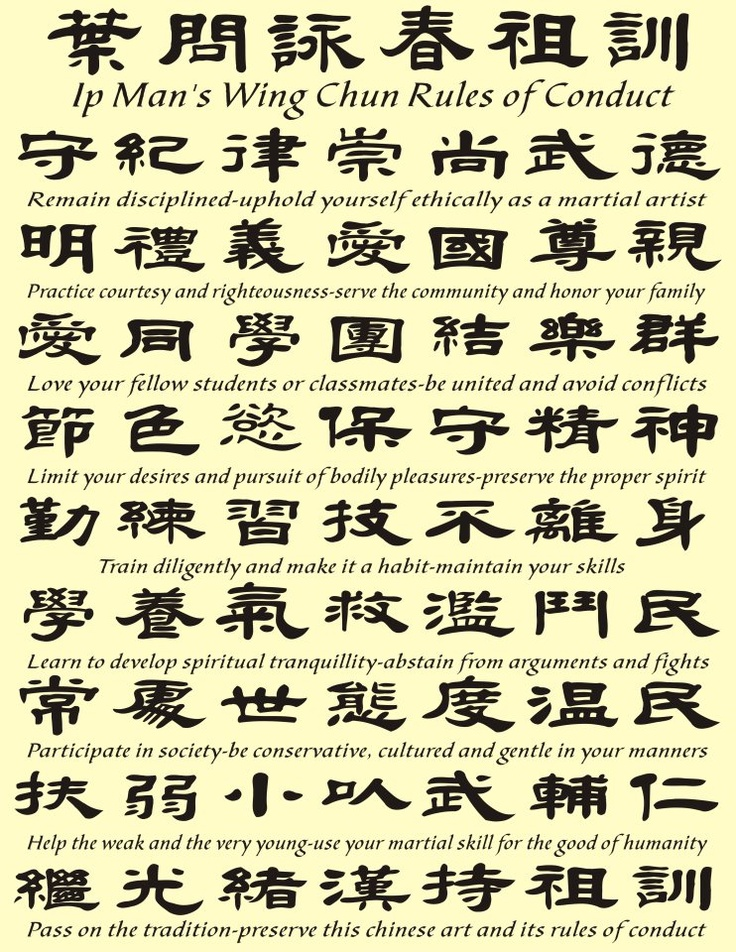 Ip Man's Wing Chun   Rules of Conduct