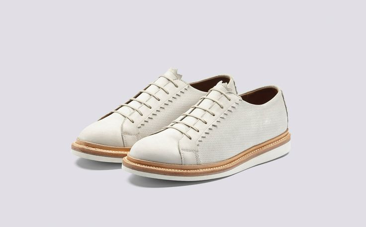 Effy | Womens Shoe in Ivory Calf Leather with a White Rubber Sole | Grenson Shoes - Three Quarter View