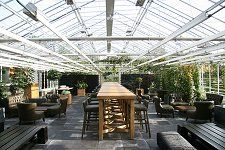Eating in a glass house in Amsterdam. Very good and always fresh food. Also good vegetarian meals