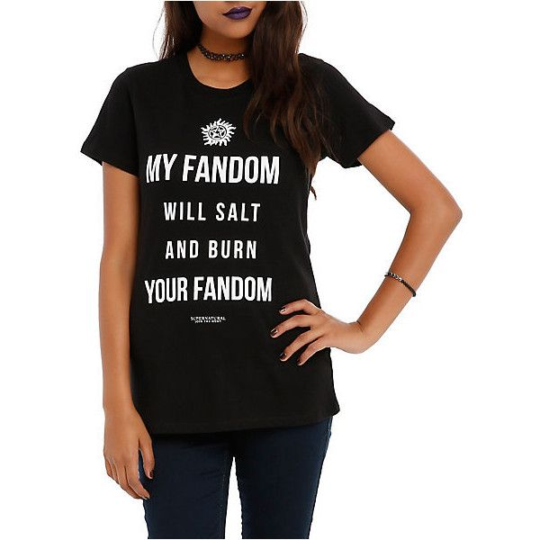 Supernatural TV Show Merchandise & T Shirts | Hot Topic ($23) ❤ liked on Polyvore featuring tops, t-shirts and supernatural