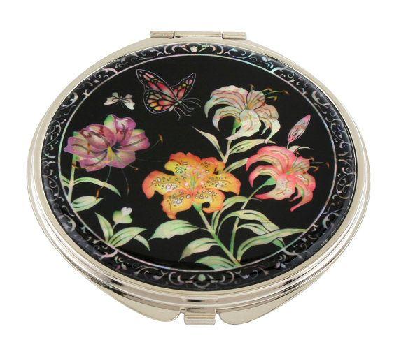 Mother of Pearl Makeup Mirror trumpet lily flower Design Cosmetic mirror Handbag Purse handheld Compact hand pocket Mirror #07