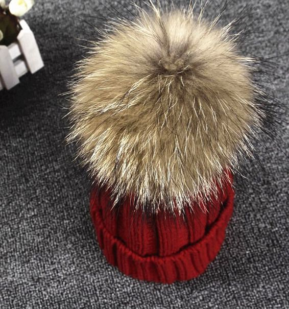 Womens Warm Wool Knitted Big Fur Tassel Bobble Ski Hat Winter Cap Free Size X66