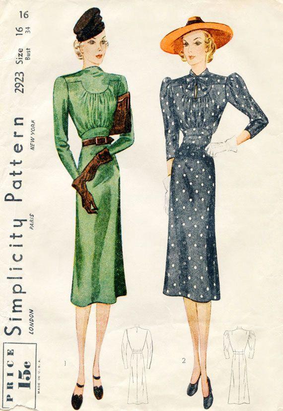 1930s Sewing Pattern Vintage Simplicity 2923 by FloradoraPresents
