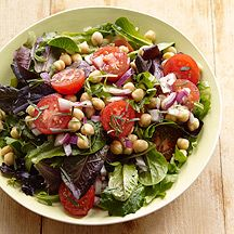 Weight Watchers: Mixed Green and Chickpea Salad with Dijon-Tarragon Vinaigrette