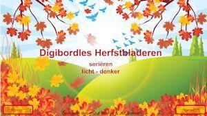Digibordles herfst van Juf Marije en Juf Sanne - Het seriëren van herfstbladeren op kleur.