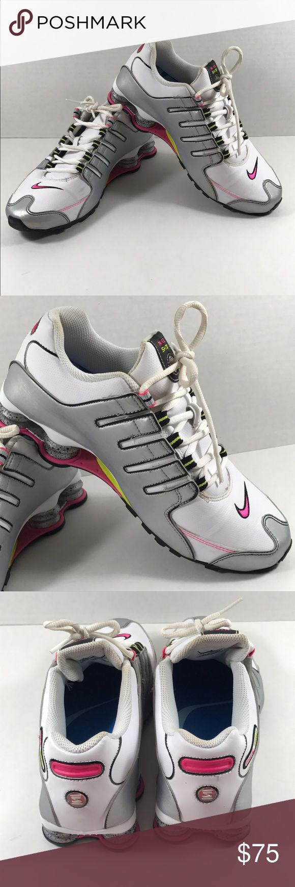 Nike Shoz NZ Running Shoes 9.5 Women's Nike shox - white, silver, pink & green sneakers. Size 9.5. Incredibly minimal wear - never worn outside of the house. Nike Shoes Sneakers