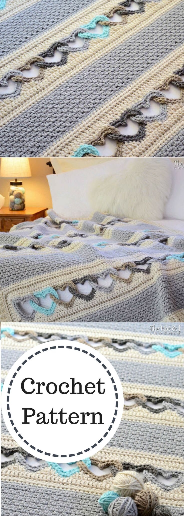 CROCHET PATTERN - With All My Heart - crochet blanket pattern, heart afghan pattern, linked hearts blanket pattern - Instant PDF Download #ad
