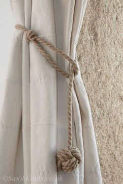 Monkey Fist curtain tie-backs in  hemp rope long drop