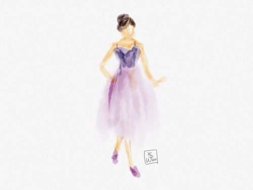 Title:  The Purple Swan  Testing with watercolors.