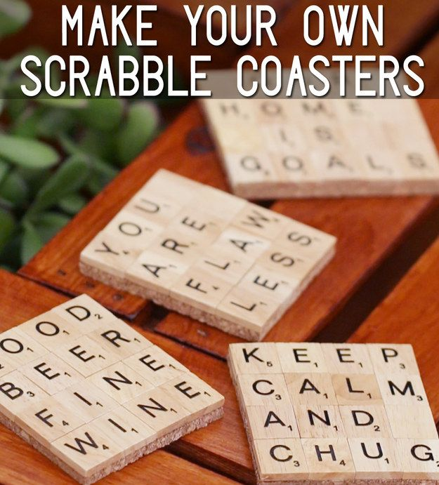 Here's How To Easily Make Scrabble Coasters For Your Next Party  (instructions don't say to seal the top, but I would just to keep condensation from dripping down in between the tiles and getting icky)