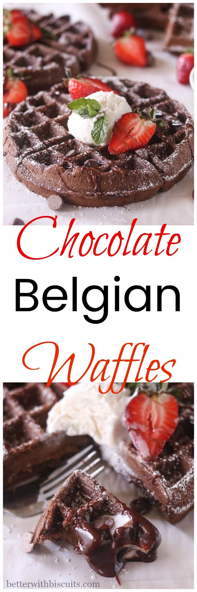 These Chocolate Belgian Waffles have a touch of sweetness, crispiness on the outside, chocolate chewy goodness on the inside, and is complete heaven on your tongue.