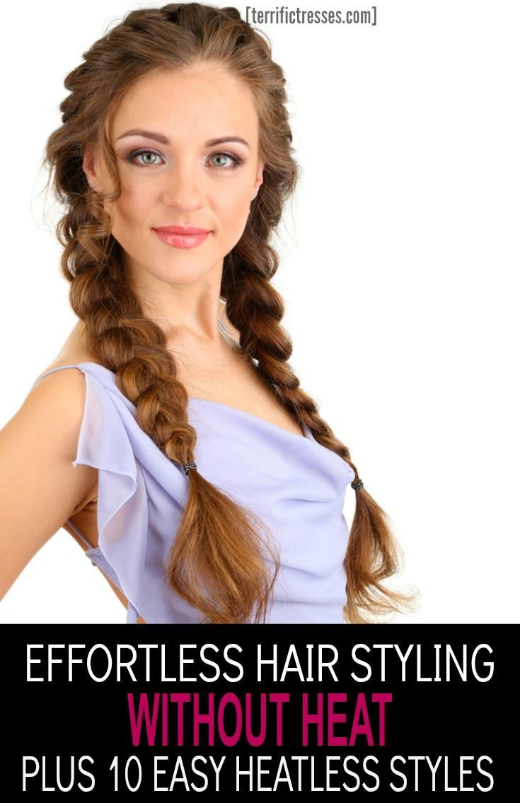 Save your hair with heatless hairy styling.  Find over 11 clever ways to style, add volume and straighten your hair without heat.  Plus get 10 styles to try that don't require any hot styling tools while going heat free. | http://TerrificTresses.com