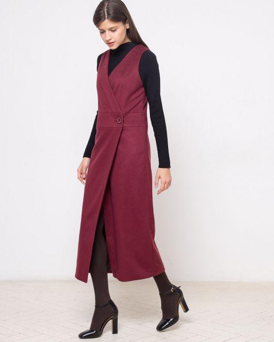 Платье-жилет с запахом из кашемира (бордовое)