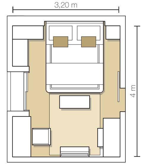 Quarto com 12,80 m² projetado pela arquiteta Paula Abbud.