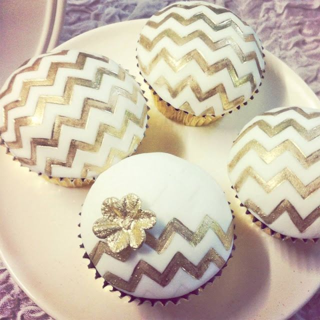 Little Big Company | The Blog: Mint and Gold Party by Sugar Coated Mama  #Chevron Gold cupcakes