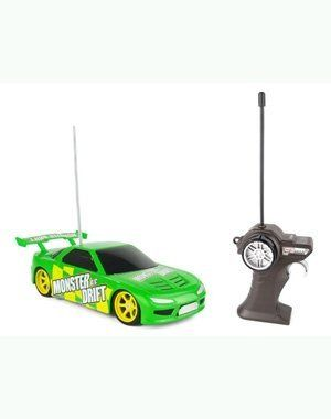 """Maisto Tech 1:24 RC Monster Drift - Green by Maisto. $21.50. Batteries not included. Controller requires 1 9V battery. Vehicle requires 4 AAA batteries. For best performance, use on hard, smooth surfaces. Approximately 7"""" long. The Maisto Tech Monster Drift remote control car allows you to slide all four wheels like the big cars so you can experience the kind of racing where style is more important than speed!"""