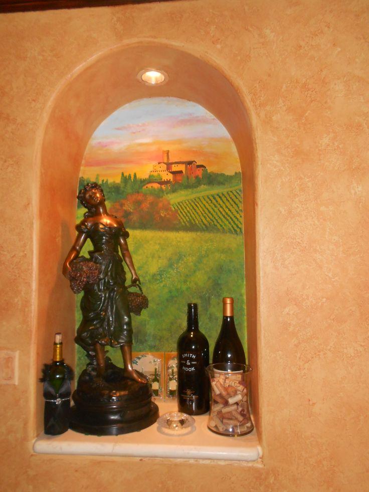 Mural viñedo italiano en nicho