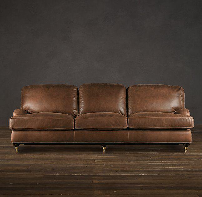 English Roll Arm Leather Sofa