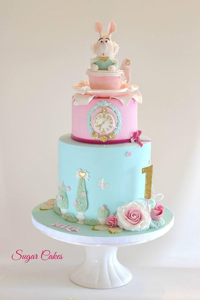 Alice In Wonderland First Birthday Cake On Satinice Com Sugar
