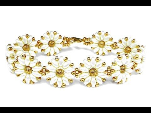 video flower bracelet [easy] SuperDuo beads  ~ Seed Bead Tutorials