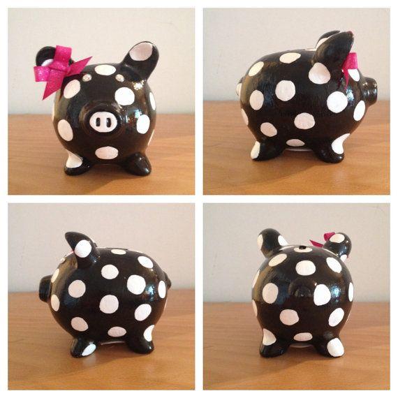 Polka Dot Pig Bank by WineandBank on Etsy