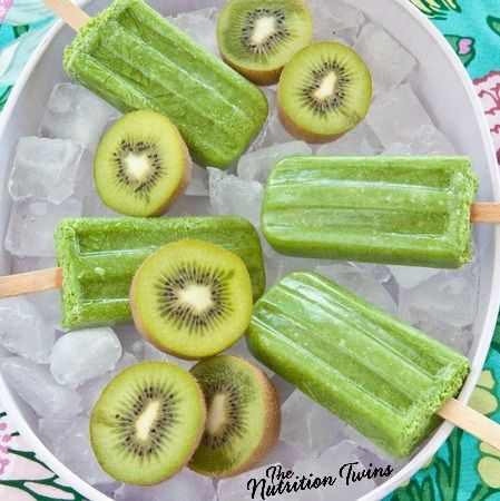 Green and Fruity Popsicles | Only 56 Calories |3 Grams Fiber! | Refreshing, Delish| Don't Even Notice U Get Veggies too! | For MORE RECIPES please SIGN UP for our FREE NEWSLETTER www.NutritionTwins.com