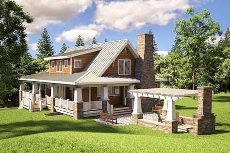 <ul><li>Porches, decks and a pergola add outdoor living space to this adorable Cottage home plan.</li><li>A big, open floor plan unites the kitchen, living room with fireplace and dining room with its sliding glass doors to the outdoor dining porch.</li><li>The master suite has two sets of triple windows to bring in light.</li><li>On the upper level, double doors open the loft bedroom to a big balcony and an open rail allows views...