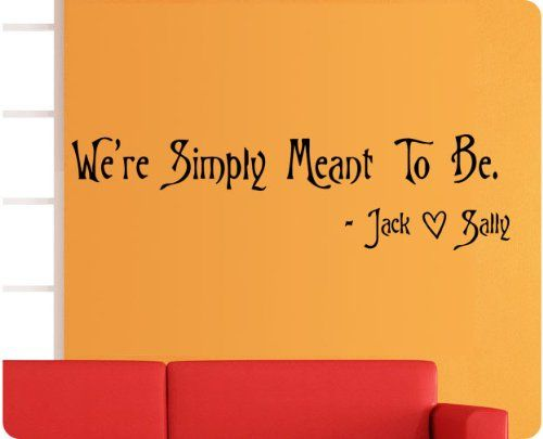 """40"""" We're Simply Meant to Be Nightmare Before Christmas Jack Sally Skellington Wall Decal Quote Sticker Large Art Mural Home Décor WallPressions,http://www.amazon.com/dp/B00FZFD8UY/ref=cm_sw_r_pi_dp_xhy9sb00ANV8M5ME"""