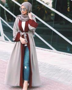 cardigan abaya with jeans- Eid hijab ready to wear http://www.justtrendygirls.com/eid-hijab-ready-to-wear/