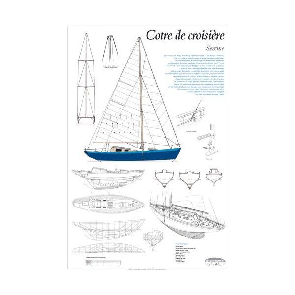 Sereine, cotre de croisière, plan de modélisme   Cotre bermudien lancé en août 1951 à Pont-Aven, achevée et armée à Concarneau, Sereine a été le premier voilier de grande croisière des Glénans   A retrouver sur : http://www.chasse-maree.com/modelisme/4265-plan-de-modelisme-sereine.html